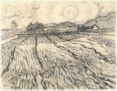 Enclosed Field behind Saint-Paul Hospital by Vincent Van Gogh Drawing, Black chalk, reed pen and ink Saint-Rémy: November - December, 1889 Artist Van Gogh, Van Gogh Art, Art Van, Vincent Van Gogh, Van Gogh Drawings, Van Gogh Paintings, Ink Drawings, Nature Paintings, Landscape Drawings