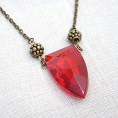 Red Necklace Antiqued Brass N165 ($22) ❤ liked on Polyvore featuring jewelry, necklaces, pendant chain necklace, filigree necklace, red pendant, hook necklace and pendants & necklaces