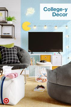 Create college-y spaces for chilling or studying. Find fun string lights & decor ideas for dorm rooms or small apartments.