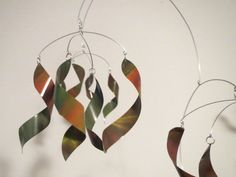 Kinetic Art Sculpture Mobile - TWISTS, Aluminum, Steel, Multicolor, Calder. $59.00, via Etsy.