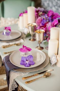 Fairytale Floral Wedding Inspiration Shoot by Katelyn James Photography - Bridal Musings Pink Purple Wedding, Floral Wedding, Trendy Wedding, Summer Wedding, Wedding Table Settings, Wedding Table Centerpieces, Place Settings, Rose Violette, Festa Party