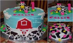 Farm 1st Birthday - 3 layer, 10 buttercream cake with hand made fondant cow, 1, bow, barn, & flowers. TFL!