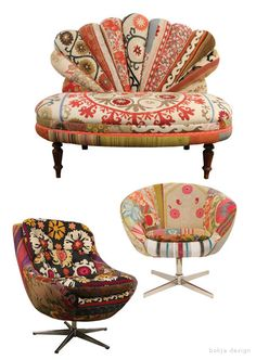 Vintage mod chairs with fabrics from around the world. Bohemian chic. Various chairs by bokja design.-  OOOOHHHH wish we  could get this stuff!