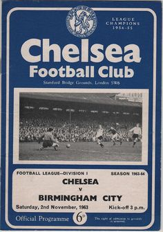 Vintage Football (soccer) Programme - Chelsea v Birmingham City, 1963/64 season, by DakotabooVintage