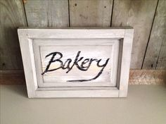 "2 sided ""Bakery"" wall sign, upcycled cabinet door"