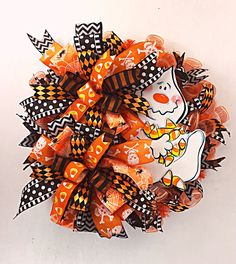 Halloween Wreath Candy Corn Ghost All Hallows Eve by DecoExchange