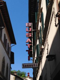 Busatti signage in Anghiari marking the showroom and factory.