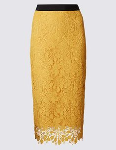Floral Lace Waistband Pencil Midi Skirt | M&S