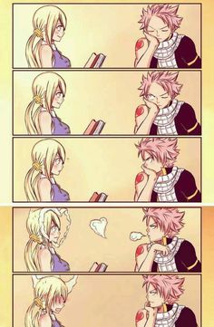Natsu and Lucy= Nalu from fairy tail - anime Natsu Fairy Tail, Fairy Tail Gray, Fairy Tail Meredy, Fairy Tail Loki, Rog Fairy Tail, Fairy Tale Anime, Fairy Tail Comics, Fairy Tail Funny, Fairy Tail Guild
