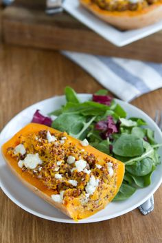 Twice Baked Butternut Squash (with Quinoa and Gorgonzola) from Naturally Ella. http://punchfork.com/recipe/Twice-Baked-Butternut-Squash-with-Quinoa-and-Gorgonzola-Naturally-Ella