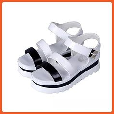 Inkach® Women Summer Wedges Platform Sandals Fashion Thick Bottom Roman Style (4.5 B(M) US, White) - Athletic shoes for women (*Amazon Partner-Link)