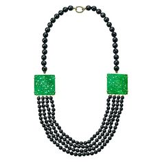 Artisan Carved Green Jade and Black Onyx Necklace from Hamilton Jewelers on shop.CatalogSpree.com, your personal digital mall.