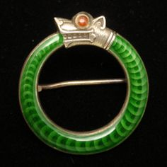 David Andersen Pin Sterling Silver Enamel Snake Sea Serpent Vintage