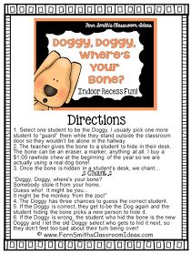 Fern Smith's Classroom Ideas Indoor Recess ~ Doggie, Doggie, Where's Your Bone Directions
