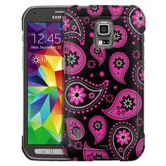 Samsung Galaxy S5 Active Paisleys Cute Pink on Black Slim Case