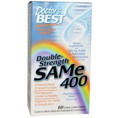 Doctor's Best, SAMe 400 двойного действия, 60 таблеток покрытых оболочкой
