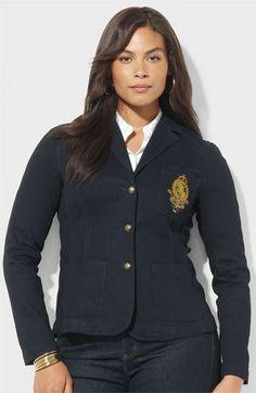 Lauren Ralph Lauren Stretch Twill Crested Blazer available at #Nordstrom