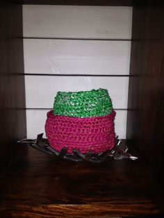 My latest crochet baskets. SOLD