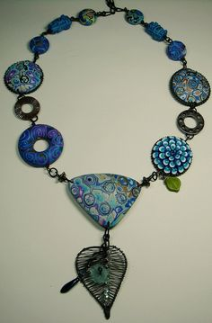Blue Necklace by polymerclaybeads, via Flickr