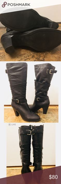 Guess 🖤 Leather Boots - Great Condition! Guess 🖤 Leather Boots - Great Condition! - only worn a few times, small scuff on left toe but otherwise great slouchy look! Guess Shoes Heeled Boots