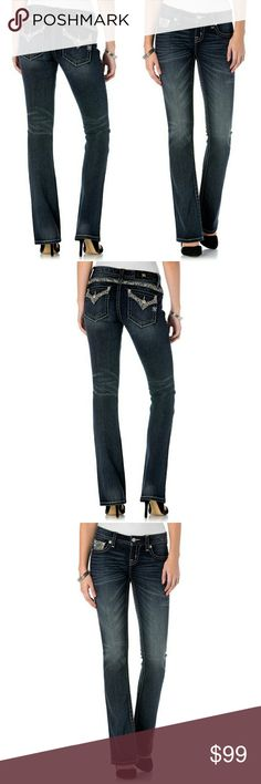 New! Miss Me Embellished Bootcut Blue Jeans NWT Show off your style with these classicbootcutjeans from Miss Me. Embellishments on the pockets and back yoke add to the appealing design. The contrast stitching enhances the fading andwhiskering.    Stud and rhinestone embellishments at pockets and back yoke  Approximately 34-inch inseam  Boot cut  Mid-rise  Button closure  Flap pockets, slant pockets  93% Cotton, 1% Elastane, 6% Polyester  Machine washable  Retails for $109.50 Miss Me Jeans…