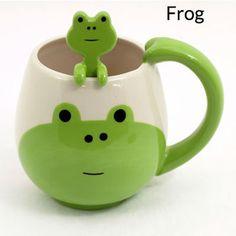 Panda, Pig, Cat, Frog Face Coffee/Tea Ceramic Mug & Spoon Set - Decole Japan Frog House, Animal Mugs, Frog Design, Frog Art, Super Cute Animals, Cute Frogs, Mode Shop, Frog And Toad, Cool Stuff