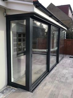 Sliding doors, Bifold doors with 90 degree and 135 degree moving corner posts · Folding Sliding Doors Doors, House Design, Open Plan Kitchen Living Room, Glass Doors Patio, Patio Design, New Homes, House Extension Design, Garden Room Extensions, House Front