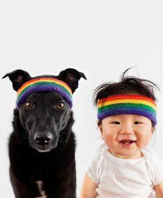 In Matching Rainbow Headbands