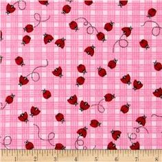 Comfy Flannel Ladybugs Plaid Pink