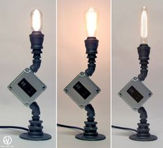 This custom-built lamp is meant to function not only as a source of light, but also a USB and electrical outlet. Place it next to your bed, at your desk, wherever, and youll have an sculptural conversation piece that serves multiple purposes. This fixture Candle Lamp, Candles, Iron Table, Pipe Lamp, Electrical Outlets, Diy Lamps, Phone Chargers, Usb, Industrial