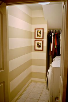 benjamin moore manchester tan & linen white - a striped wall Manchester Tan Benjamin Moore, Usa House, Paint Colors For Home, Paint Colours, Room Themes, Interior Styling, Laundry Room, Interior And Exterior, Sweet Home