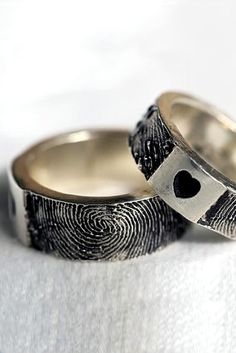 heart fingerprint wedding engagement blog bands rings