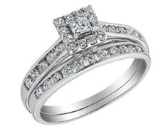 Princess Cut Diamond Engagement Ring & Wedding Band Set 3/4 Carat (ctw) in 10K White Gold MyJewelryBox. $895.00. Free Signature MyJewelryBox Gift Box. If you are not completely satisfied, you can return any order for refund or exchange within 30 days from the date of shipment - shop with confidence!