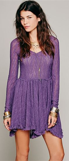 Ruffled V Neck Long Sleeve Lace Dress
