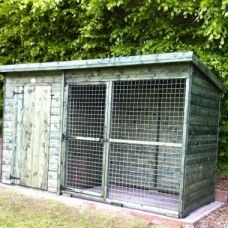 Pent timber Dog Kennel features a run connected by sliding door. Run is mesh construction. Fantail Pigeon, Dog Kennels, Sliding Doors, Shed, Outdoor Structures, Building, Dogs, Garden, Sliding Door