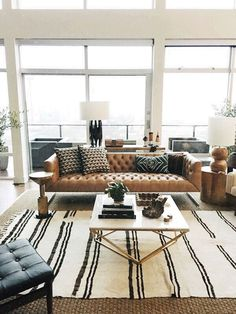 Currently our boho chic living room style.  Lots of layered textures using our oversized leather sofa, mud cloth pillows and soft blankets in black & cream.