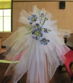 Elegant decorations with tulle wedding decorations rose ivy tulle tulle pew decorations add flowers crystal picks bells or specifically themed items just about anything will work to customize this wedding decoration junglespirit Choice Image