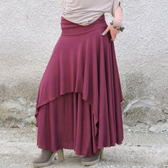 POLA Romantic red long skirt with two layers by Comfortissimo. $59.00, via Etsy.