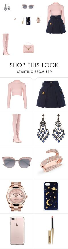 """""""Look do Dia"""" by julianaf1609 ❤ liked on Polyvore featuring Topshop, Marc Jacobs, Stuart Weitzman, Amrapali, Anne Sisteron, Rolex, CHARLES & KEITH and Hourglass Cosmetics"""