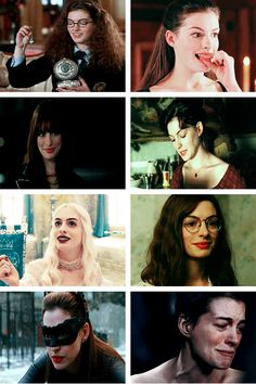 Anne Hathaway Movie.. The princess diaries, ella enchanted, the devil wears prada, ?? ,Alice in Wonderland, ??, The Dark Knight Rises, Les Miserable