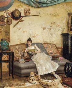 Jeune femme lisant dans un intérieur japonisant by Georges Croegaert People Reading, Woman Reading, Beautiful Library, Academic Art, Art Base, Global Art, I Love Books, Art Market, Chinoiserie