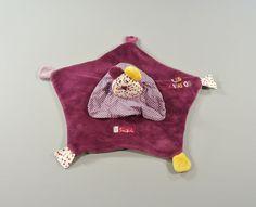Doudou plat souris Suzi Les Zigotos velours violet Sauthon