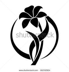 Black silhouette of lily flower. Vector illustration. - stock vector