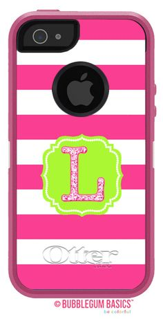 Iphone 5s, Iphone Cases, Mobile Phone Cases, Pink Stripes, Samsung Galaxy S5, Ipod Touch, Initials, Hot Pink, Flourish