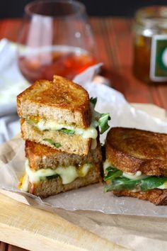 Grilled brie, fig jam and dandelion greens sandwich.  (click for recipe)