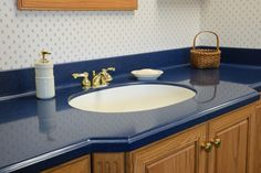 Kitchen. Residential Blue Corian Solid Countertops With Undermount Sink And Nice Backsplash Idea .