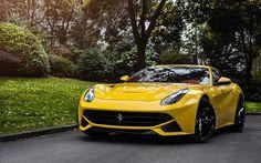 Ferrari F12 Berlinetta, sportcars, italian cars, yellow F12, Ferrari