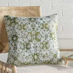 "Mistana Gardner Square Cotton Throw Pillow Size: 18"" H x 18"" W x 4"" D, Color: Mint/Lime/Dark Green/Olive/Tan/Moss"