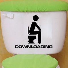 DSU Downloading Individual Toilet Sticker Bathroom Home Wall Decal - BLACK 13 X 15 CM
