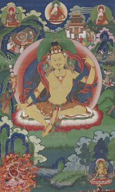 Bhutanese painted thanka of Guru Nyima Ozer, late 19th century, Do Khachu Gonpa, Chukka, Bhutan - Thangka - Wikipedia
